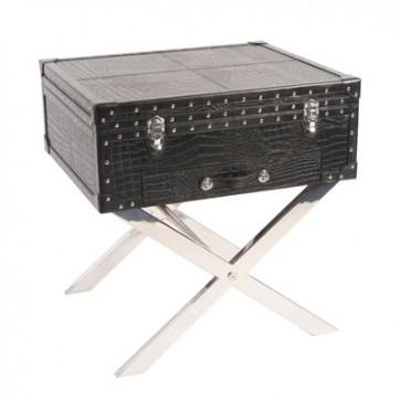 Bočný stolík krokodilia koža, 50x50x45