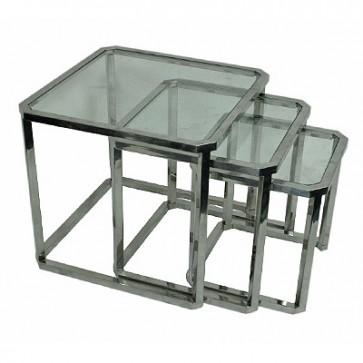 Bočný stolík so sklom 3ks, 60x60x55cm