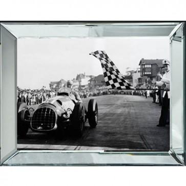 Obraz auto s lietadlom v zrkadlovom ráme 90x120 cm