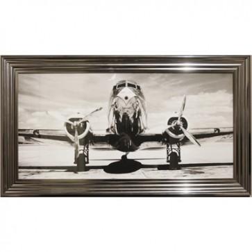 Obraz lietadlo v striebornom ráme 50x100