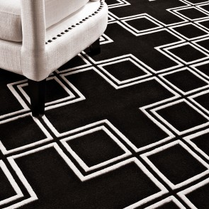 Koberec Caton black  & off-white 300 x 300 cm