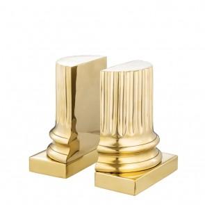 Zarážka do knižnice Pillar polished brass set of 2