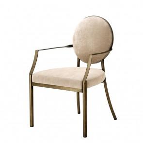 Jedálenská stolička Scribe with arm dark brass greige vel