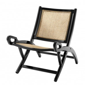 Skladacia stolička Dimono black finish natural cane