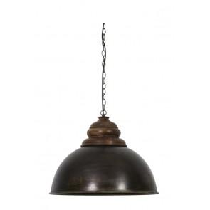 Visiace svietidlo Ř52x40 cm LEIA black zinc+top wood brown