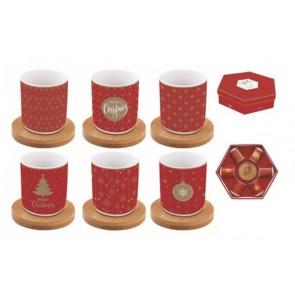 Hrnček espresso porcelánový s bambusovou podložkou, set pre 6 osôb, 110ml, krabička, Mania Xmas