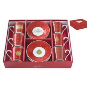 Hrnček espresso porcelánový s tanierikom, set pre 6 osôb, 100ml, krabička, Mania Xmas
