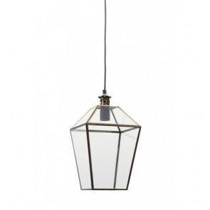 Lampa závesná sklenená, rozmery: 21x21x38 cm